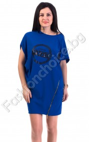 Дизайнерска рокля/туника в цвят роял с асиметричен цип