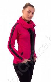 Дамски суичър с промазка и голяма яка в цвят циклама