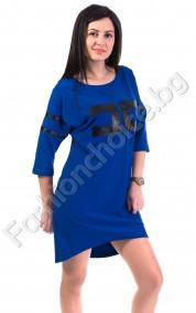 Асиметричен модел рокля/туника с издължена задна част
