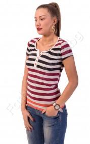 Памучна блуза с къс ръкав на райета с цветни копчета