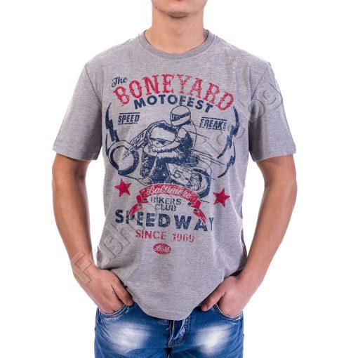 Мъжка тениска BONEYARD MOTO FEST с ефектна щампа