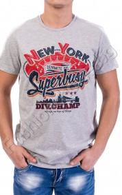 Вталена мъжка тениска с обла яка superior
