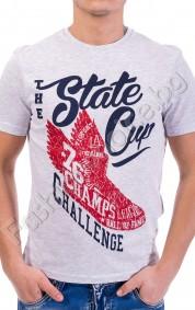 Вталена мъжка тениска STATE CUP с къс ръкав