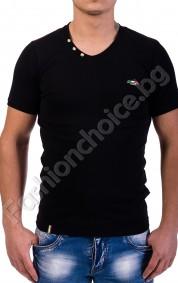 Вталена мъжка тениска с остро деколте и копченца в седем цвята
