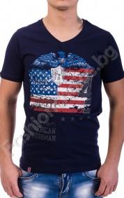 Памучна мъжка тениска с щампа орел и американско знаме