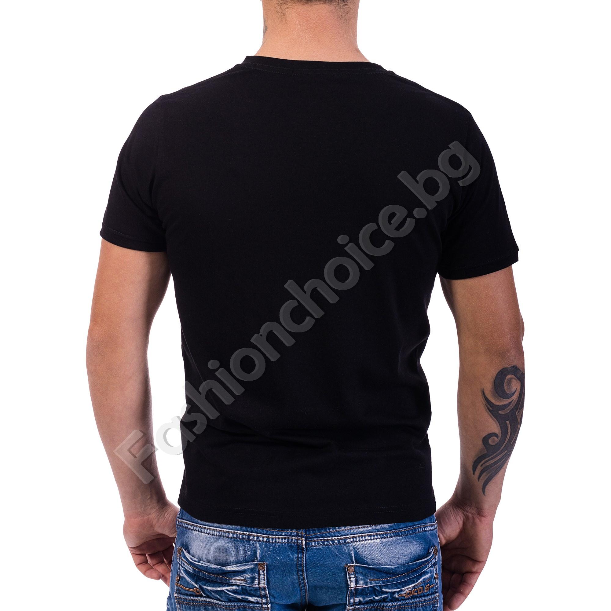 Памучна мъжка тениска с щампа на жена с мотор