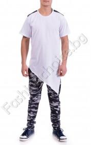 Мъжка тениска асиметрично удължена с акцент кожа