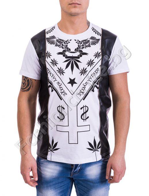 Мъжка тениска с акценти от кожа и принт в предната част