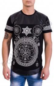 Мъжка тениска с кожа и щампа с древни символи