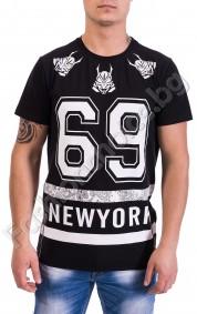 Мъжка тениска в черно или бяло NEWYORK с ципове отстрани