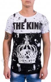 Тениска с уникален дизайн с надпис и щампа THE KING