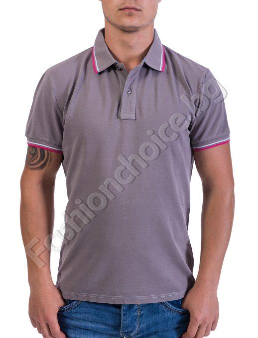 Мъжка памучна тениска с къс ръкав и якичка в три цвята