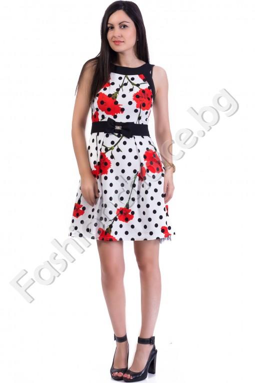 Елегантна дамска рокля в десен на точки и цветя в два цвята