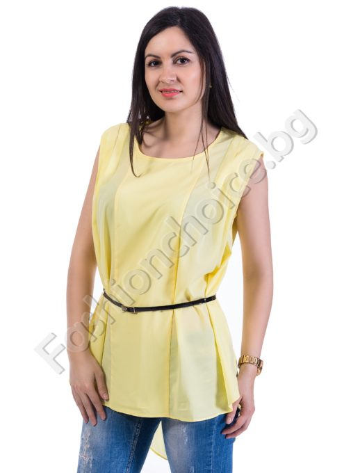 Красива и елегантна дамска туника в два цвята с коланче