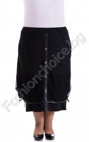 Модерна макси пола в черно с мрежа и промазка