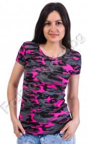 Лятна дамска блуза с къс ръкав в два десена