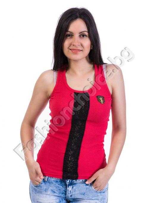 Летен дамски потник с дантела и емблема в четири цвята