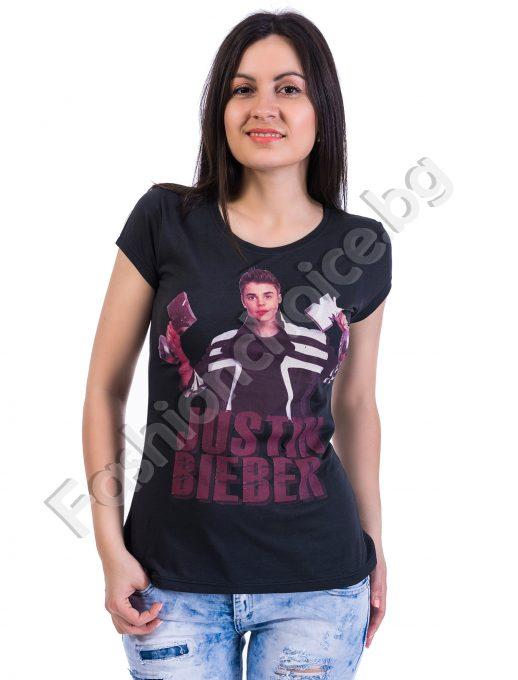 Дамка блуза с къс ръкав в черно JUSTIN BIEBER
