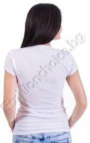 Дамка блузка с къс ръкав в бяло JUSTIN BIEBER