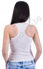 Дамски топ в бяло с изрязан гръб и апликация отпред