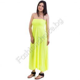 Дълга рокля без презрамки в розов неон или жълт цвят