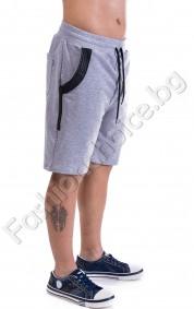 Актуални 3/4 панталонки с акцент кожа и цип в 2 цвята