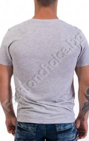 Мъжка тениска с къс ръкав в сиво и надпис THOUGHTS