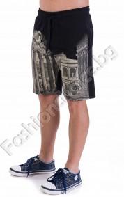 Mъжки 3/4 панталонки в два цвята и щампа на Акропол