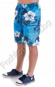 Мъжки 3/4 панталони в десен на цветя и странично джобче