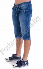 Дънкови 3/4 панталони с изтъркан ефект и маншет