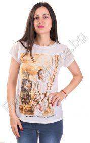 Лятна дамска блуза с апликация и камъчета за акцент