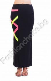 Дълга дамска пола в черно с неонови лентички за акцент