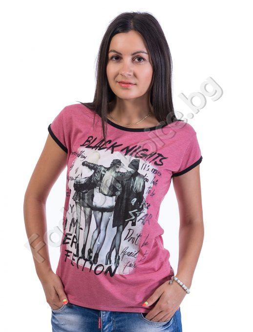 Дамски топ къс ръкав в розово или черно с ефектна апликация
