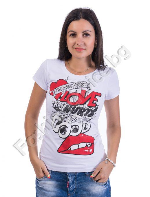 Лятна блузка с къс ръкав в 4 цвята и щампа LOVE GOOD
