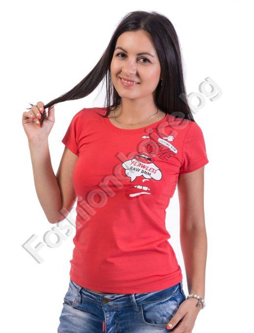 Ежедневна блузка с къс ръкав в 4 цвята с щампа LOVE