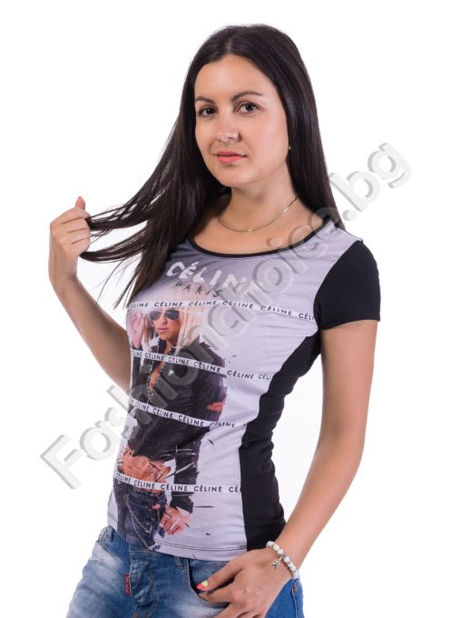 Дамска блузка в черно с щампа на жена и надпис CELINE