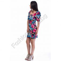 Свежа дамска рокля с къс ръкав в два десена на цветя
