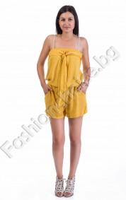 Памучен дамски гащеризон с голи рамене в два цвята