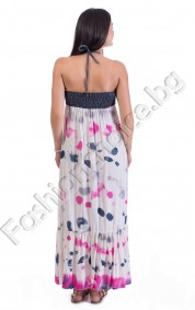 Дълга дамска рокля тип бюстие в деним с вързанки