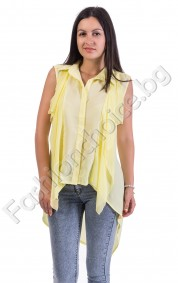 Лятна риза от шифон с издължена задна част в два цвята