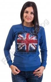 Дамска блуза с дълъг ръкав England в синьо,бяло или черно