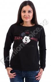 Дамска блуза с щампа на Мики и надпис AMERICAN ICON