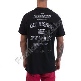 Мъжка тениска в черно с щампа GET HIGNER