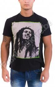Памучна мъжка тениска в черно с щампа на BOB MARLEY