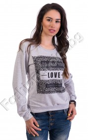 Памучна блузка с дълъг ръкав в светло сиво LOVE