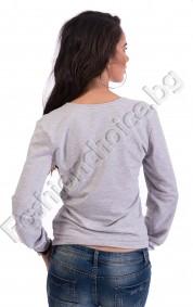 Дамска блуза с дълъг ръкав от памучна материя с щампа DONE