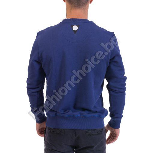 Памучна мъжка блуза с дълъг ръкав в бордо и синьо с щампа