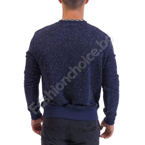 Мъжка блуза с дълъг ръкав в син меланж с емблема