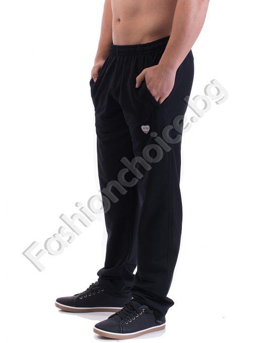 Спортно мъжко долнище в черно и сиво с емблема