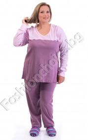 Удобна макси пижама в три десена с панделка за акцент